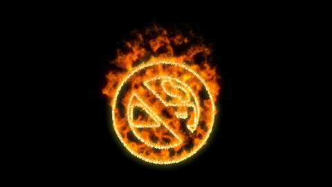 smoking ban symbol inflames. Then disappears. In - Out loop. Alpha channel Premultiplied - Matted Animation