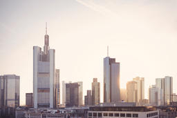 Frankfurt Financial District Skyscrapers at Sunrise フォト