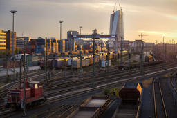 Railway Lines and Freight Station in Frankfurt Photo