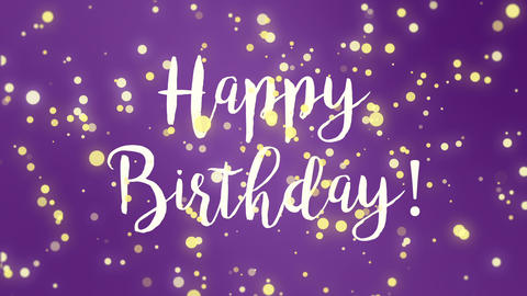 Purple Happy Birthday greeting card Animation