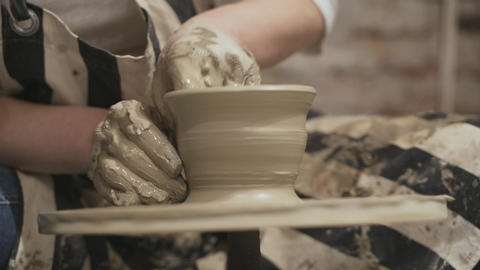 Potter creating a clay jar Stock Video Footage