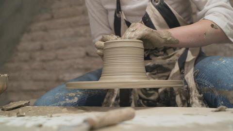 Potter's hands makes a pot- Close Up Shot Stock Video Footage