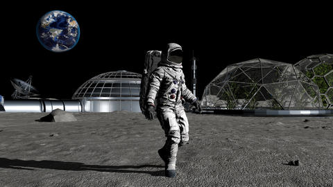 Sci-fi scene. The colony of the future on the moon. Astronaut walking on the Footage