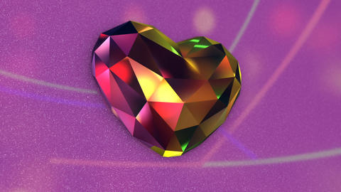 Beautiful Colorful Diamond Shaped Heart with Flickering Lights GIF