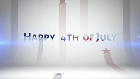 An Animation of July 4th Fireworks an American Flag and a... Stock Video Footage