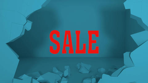 An Animation of Breaks Through a Wall to Show a Sale Sign Animation