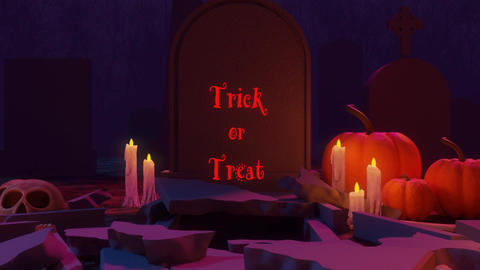 An Animation of Cemetery Scene Ending with a Trick or Treat Sign Coming Out of a Grave Animation