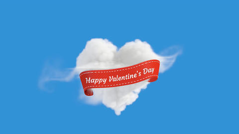 An Animation of Blue Sky with Heart Shaped Cloud With Happy Valentine Animation