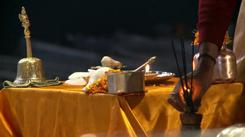 Lighting incense for religious ceremony Footage