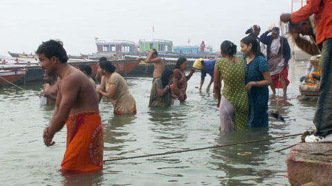 People bathing in the Ganges Footage