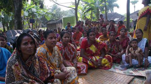 Women chanting at women meeting Footage