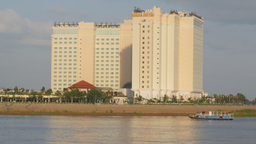 Big Hotel on the banks of River,Phnom Penh,Cambodia Footage