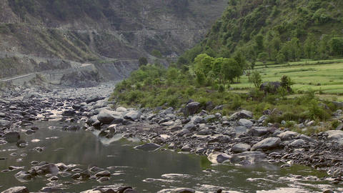 Static view of rocky river bed in India Live Action