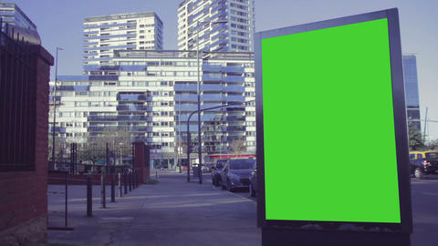 Billboard Ad with Green Screen in the city streets – Croma Key Live Action