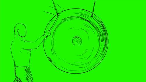 Man Hitting Gong Drawing 2D Animation Videos animados
