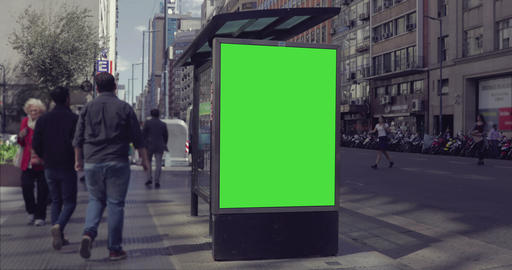 Billboard Ad with Green Screen in the city streets – Croma Key Footage