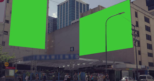 Billboard Ad with Green Screen in the city streets –... Stock Video Footage