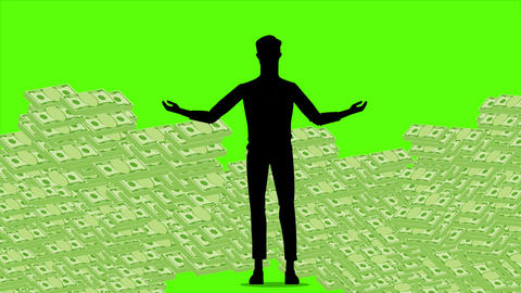 silhouette young businessman pose for earning money graphic motion design with green screen Animation