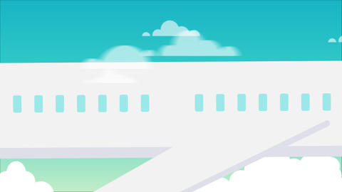 Flat motion graphic scene zoom out plane flying and sky background 2d animation video.Plane Animation
