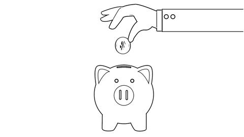 Business hand putting coin to piggy bank animation in cartoon lines style video. Money saving motion Animation