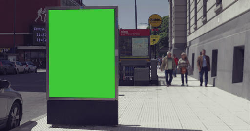 Billboard Ad with Green Screen in the city streets –… Stock Video Footage