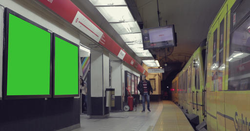 Billboard Ad with Green Screen in the subway– Croma Key Footage