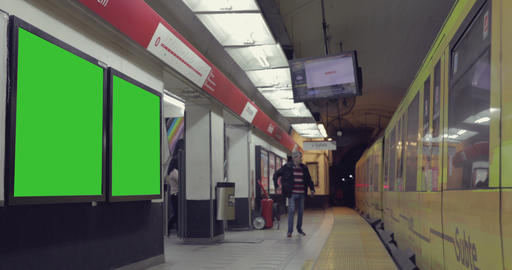 Billboard Ad with Green Screen in the subway– Croma Key Stock Video Footage
