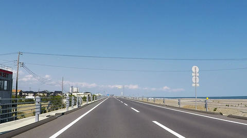 Road by the sea of fine weather ビデオ