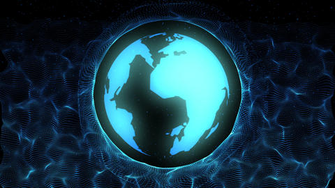 Abstract glow blue planet with particular motion video. Sparkle shinny blue globe particle Animation
