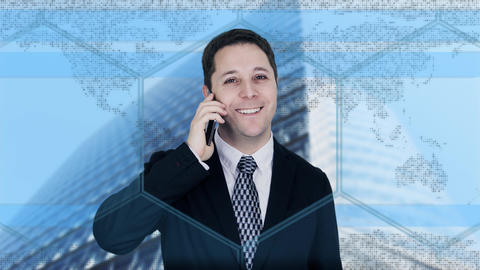 Businessman On The Phone With Business City and Corporate Buildings In Background Animation