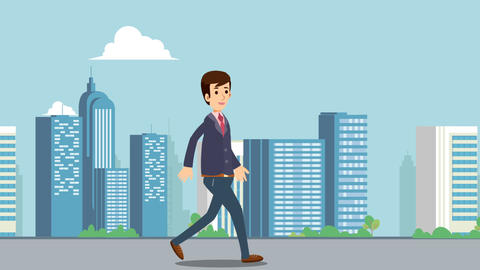 Businessman walking on main street with cityscape background animation video.Business man walk in Animation