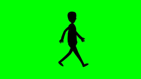 Silhouette man walk cycle on green screen animation HD video Stock Video Footage