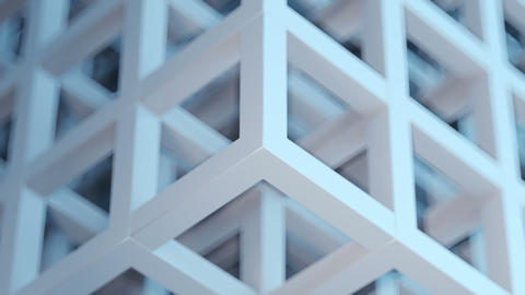 3D abstract gray-blue cubic puzzle background loop Animation