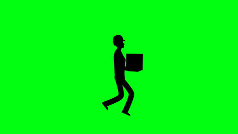 Silhouette man walk cycle with holding box on green screen animation HD video.Worker walking on Animation