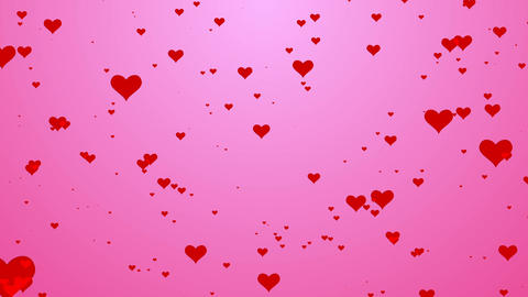 Cute heart pattern flow on pink background motion video.Valentine heart love concept Animation