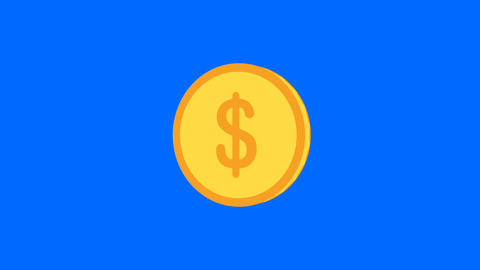 3d Dollar coin rotation on blue screen.Get reward concept.Business object motion Animation
