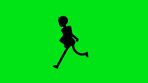 Silhouette Business man running on green background loopable video.Male character run cycle Animation