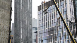 Construction Crane Lifting Construction Materials Footage