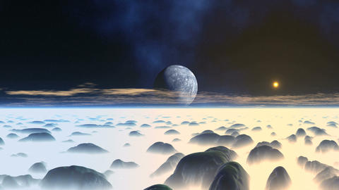 Misty Hilly Alien Planet Animation