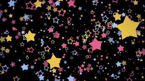ゆっくり接近するホップな星エフェクト-カラフル/黒背景 CG動画