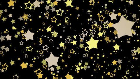 ゆっくり接近するホップな星エフェクト-イエロー/黒背景 CG動画