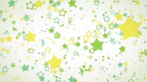 ゆっくり接近するホップな星エフェクト-グリーン/白背景 CG動画
