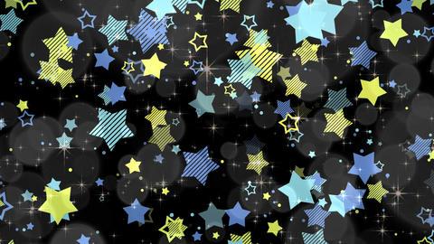 ポップな星エフェクトとキラキラエフェクト-ブルー/透過背景 CG動画