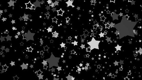 ゆっくり接近するホップな星エフェクト-モノクロ/黒背景 CG動画