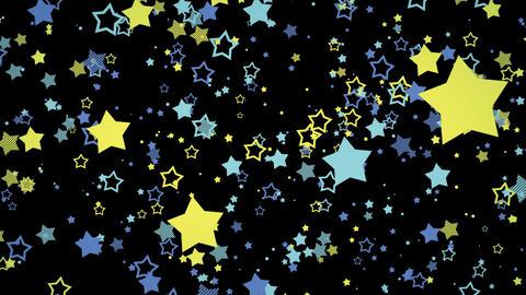 ゆっくり接近するホップな星エフェクト-ブルー/透過背景 CG動画