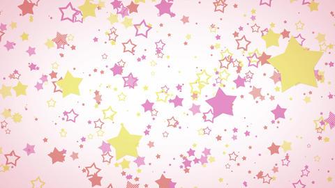 ゆっくり接近するホップな星エフェクト-ピンク/白背景 CG動画