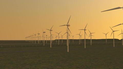 Aerial view of Wind turbines Energy Production - 3d animation footage Archivo