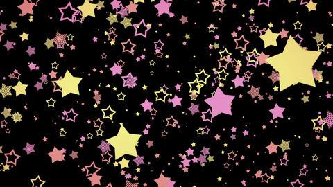 ゆっくり接近するホップな星エフェクト-ピンク/黒背景 CG動画