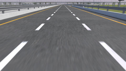 Close view of Line On The Road, Fast movement - Loopable 3d animation Footage