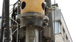 Construction Excavator Drill Closeup Footage
